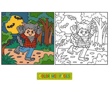 Coloring book for children, Werewolf Vetores