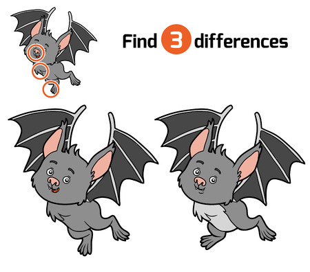 guess: Find differences, education game for children, Bat Illustration