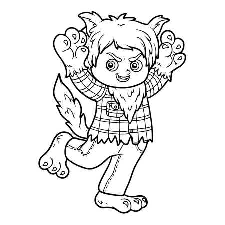 printable coloring pages: Coloring book for children, Werewolf Illustration