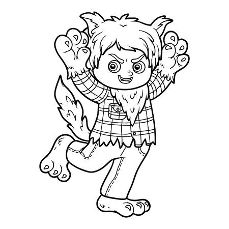 Libro de colorante para los niños, hombre lobo