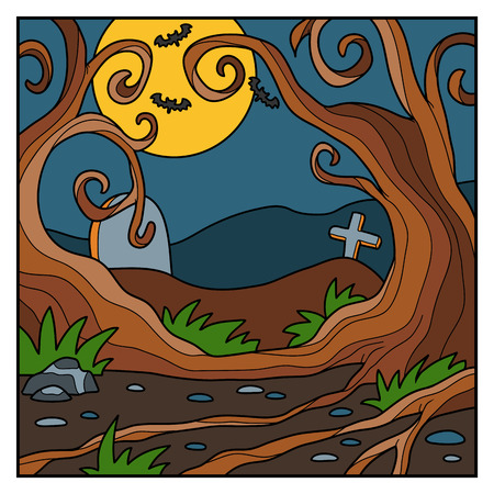 churchyard: Vector Halloween background, colorful landscape with night forest Illustration