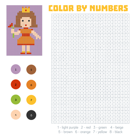printable coloring pages: Color by number, education game for children, Princess Illustration