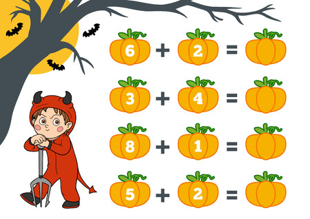Counting Game for Preschool Children. Halloween characters, devil. Educational a mathematical game. Count the numbers in the picture and write the result. Addition worksheets.