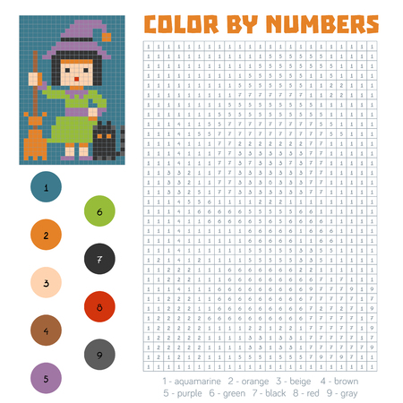 Color by number, education game for children, Witch Illustration