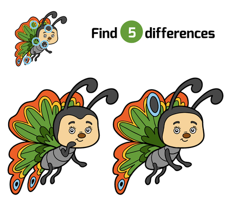 find: Find differences, education game for children, Butterfly