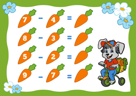 subtraction: Counting Game for Preschool Children. Subtraction worksheets. Rabbit and carrots. Educational a mathematical game. Count the numbers in the picture and write the result.