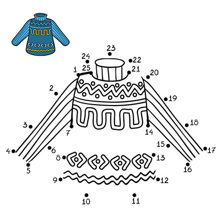 Numbers game, education dot to dot game for children, Pullover with winter pattern Illustration