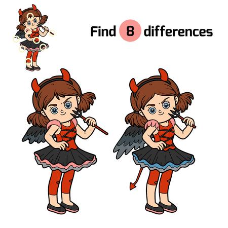 guess: Find differences, education game for children, Devil girl Illustration