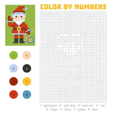 children santa claus: Color by number, education game for children, Santa Claus