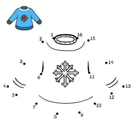 Numbers game, education dot to dot game for children, Pullover with snowflake