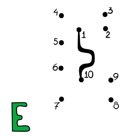 secret number: Numbers game for children, education dot to dot game Letter E Illustration