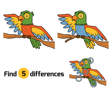 find: Find differences, education game for children, parrot