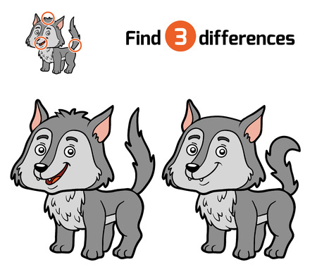 find: Find differences, education game for children, Wolf