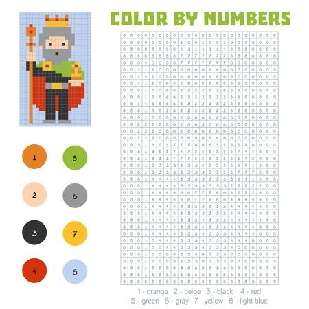 secret number: Color by number, education game for children, King Illustration