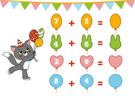 Counting Game for Preschool Children. Educational a mathematical game. Count the numbers in the picture and write the result. Addition worksheets about Birthday decorations, balloons
