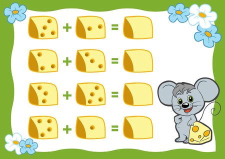 addition: Counting Game for Preschool Children. Educational a mathematical game. Count the numbers in the picture and write the result. Addition worksheets. Mouse and cheese