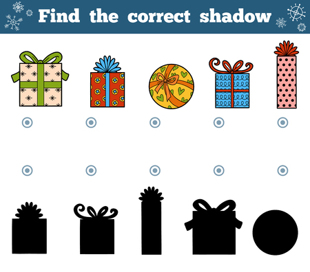 shadow match: Find the correct shadow, education game for children. Vector set of Christmas gifts Illustration