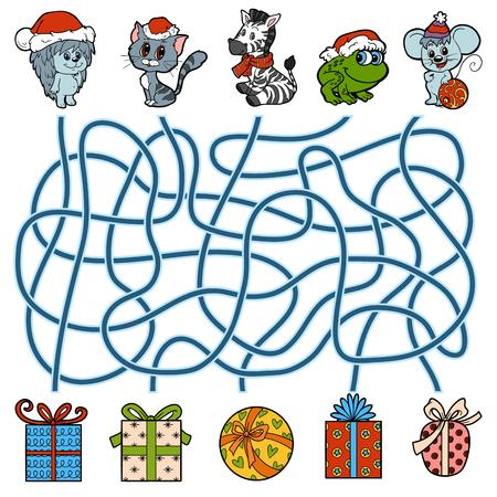 Doolhof onderwijs spel voor kinderen, kleine dieren en de giften van Kerstmis Stockfoto - 64872253