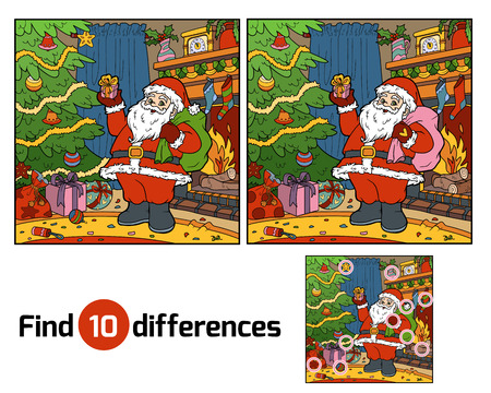 secrets: Find differences education game for children, Santa Claus