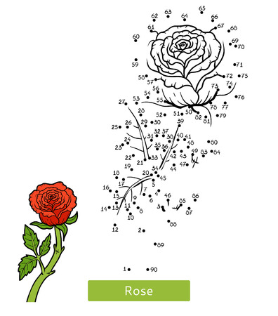 Numbers game, education dot to dot game for children, flower Rose