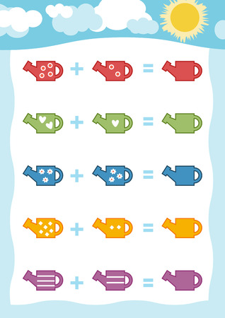 preschool children: Counting Game for Preschool Children. Educational a mathematical game. Count the numbers in the picture and write the result. Addition worksheets with watering can