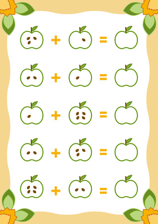 Counting Game for Preschool Children. Educational a mathematical game. Count the numbers in the picture and write the result. Addition worksheets with apples