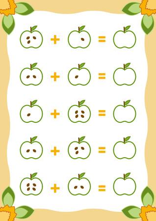 Liczenie gier dla dzieci w wieku przedszkolnym. Edukacja gry matematycznej. Zlicz liczbę na obrazku i napisz wynik. Dodawanie arkuszy roboczych z jabłkami