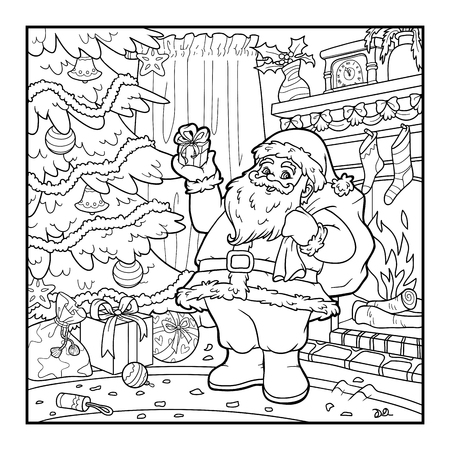 Coloring book for children, Santa Claus
