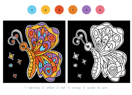 printable coloring pages: Color by number, education game for children, Butterfly
