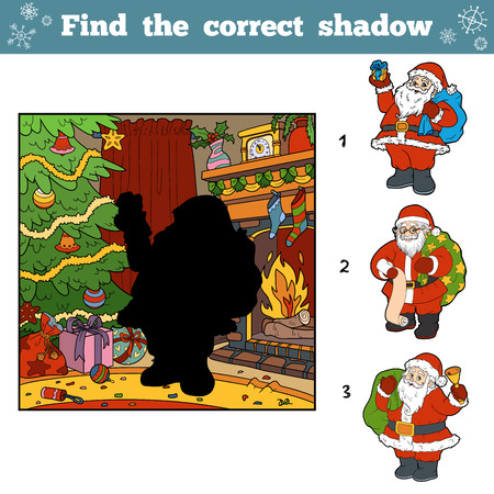 Find the correct pictures by shadow. Santa Claus, Christmas tree and fireplace