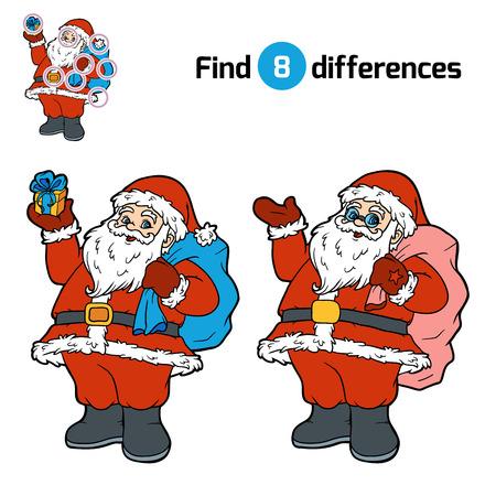 secrets: Find differences, education game for children, Santa Claus Illustration
