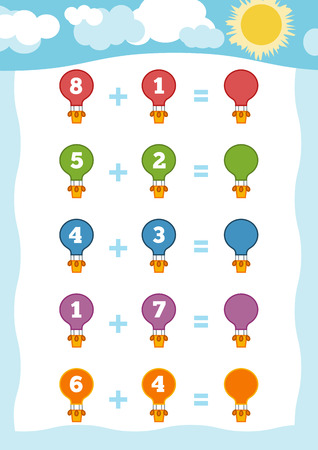 Counting Game for Preschool Children. Educational a mathematical game. Count the numbers in the picture and write the result. Addition worksheets with balloons Illustration