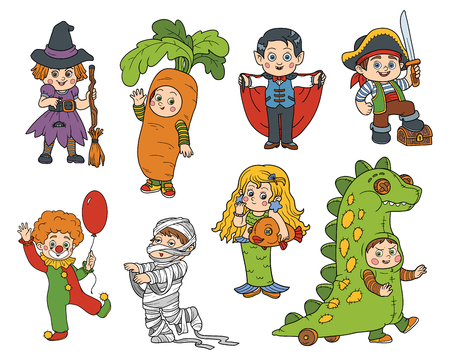 farytale: Vector set of Halloween children characters, color cartoon collection, colorful Stickers with children in carnival costumes Illustration