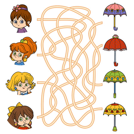 Maze game for children. Little girls and umbrellas 向量圖像