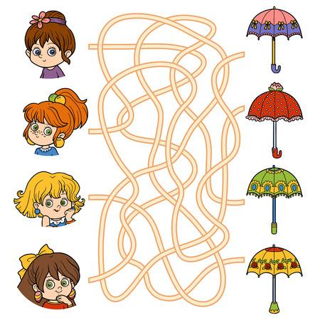 Maze game for children. Little girls and umbrellas Illustration