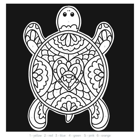 secret number: Color by number, education game for children, Turtle Illustration