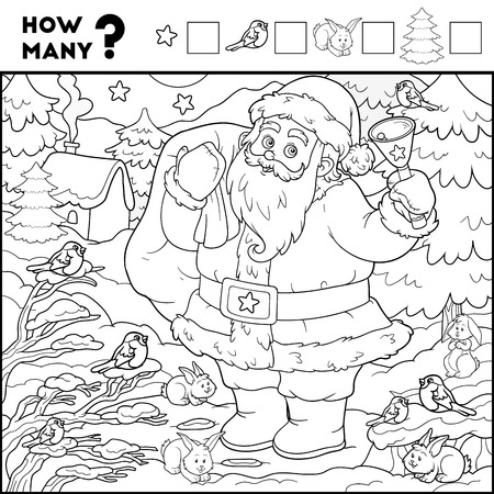 Counting Game for Preschool Children. Educational a mathematical game. Count the numbers in the picture and write the result. Santa Claus and background