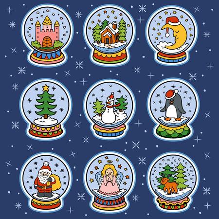 esfera: Ilustración de color del conjunto de bolas de nieve, pegatinas de colores de Navidad