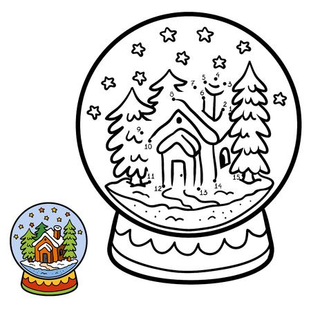 enigma: Numbers game, education dot to dot game for children, winter Snowball with house Illustration
