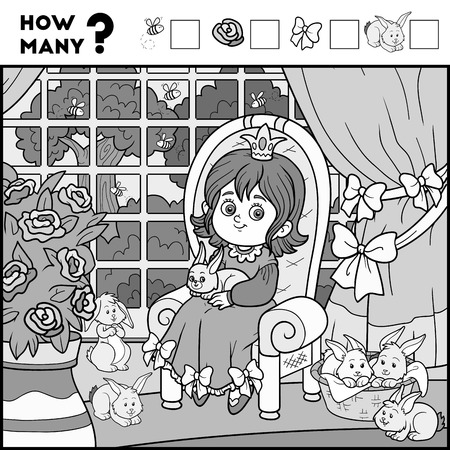 enigma: Counting Game for Preschool Children. Educational a mathematical game. Count how many items and write the result! Princess and background
