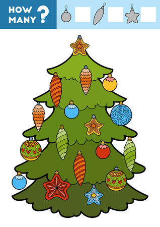 Counting Game for Preschool Children. Educational a mathematical game. Count how many items and write the result! Christmas tree and toys