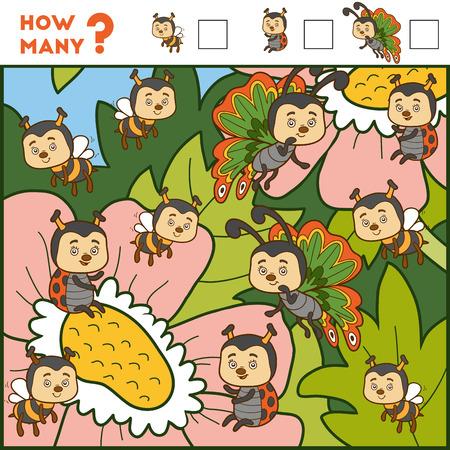 Contando juego para niños en edad preescolar. Educativa un juego matemático. Contar el número de artículos y escribir el resultado! Los insectos y las flores Foto de archivo - 66263400