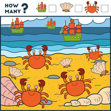 Counting Game for Preschool Children. Educational a mathematical game. Count how many items and write the result! ?rabs and beach Illustration