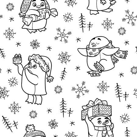 pinguinos navidenos: Modelo inconsútil blanco y negro del vector con los pingüinos de la Navidad en el fondo blanco Vectores