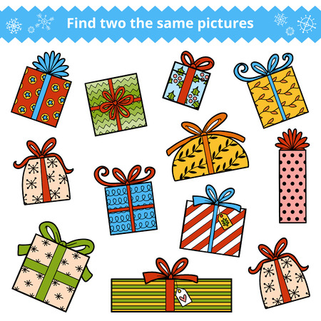 Find two the same pictures, education game for children. Color set of Christmas gifts Illustration