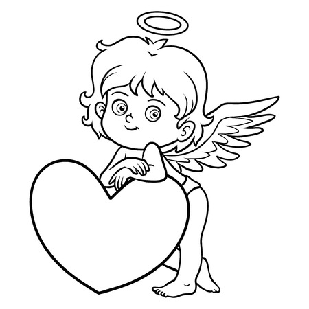 Coloring book for children, Valentines Day character, Angel Illustration