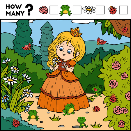 Counting Game for Preschool Children. Educational a mathematical game. Count how many items and write the result! Princess and background