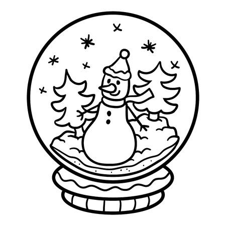 Malbuch Für Kinder, Winterschneeball Mit Haus Lizenzfrei Nutzbare ...