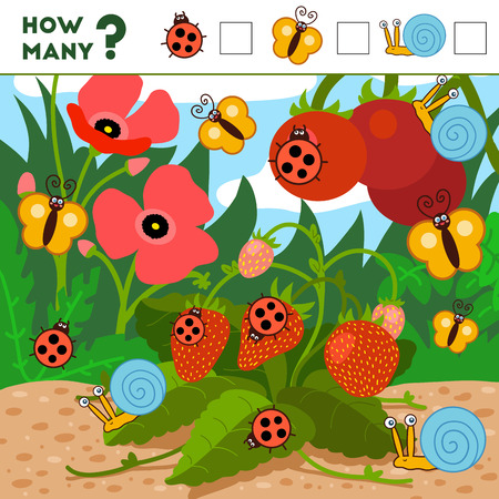 Counting Game for Preschool Children. Educational a mathematical game. Count how many items and write the result! Insects and background