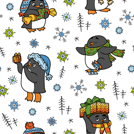 pinguinos navidenos: vector sin patrón con los pingüinos de la Navidad en el fondo blanco